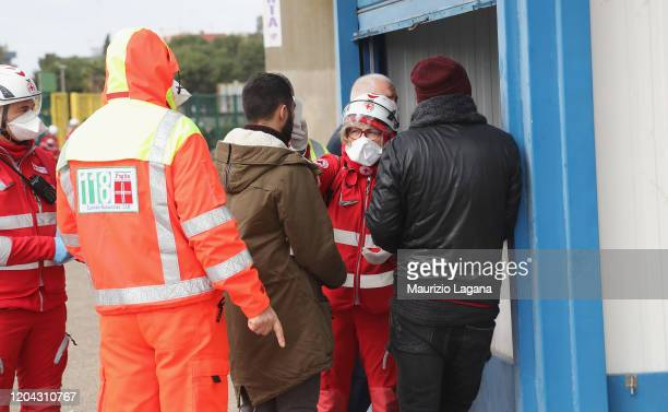 Fans are scanned by sanitary staff prior the Serie A match between US Lecce and Atalanta BC at Stadio Via del Mare on March 1 2020 in Lecce Italy