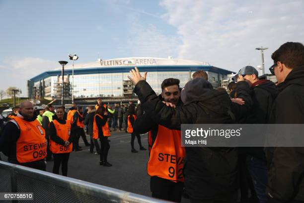 Fans are searched by stewards outside the ground prior to the UEFA Europa League quarter final second leg match between FC Schalke 04 and Ajax...