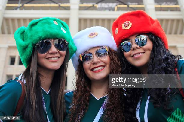 Fans are seen before the 2018 FIFA World Cup Russia Group F match between Germany and Mexico at the Luzhniki Stadium Moscow in Moscow Russia on June...