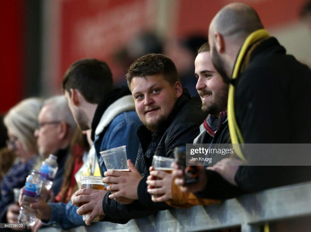 Fans are seen before the Aviva Premiership match between Sale Sharks and Wasps at AJ Bell Stadium on April 6, 2018 in Salford, England.