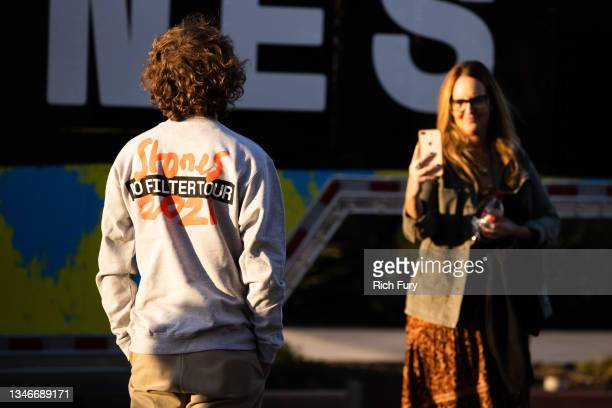Fans are seen before The Rolling Stones performance at SoFi Stadium on October 14, 2021 in Inglewood, California.