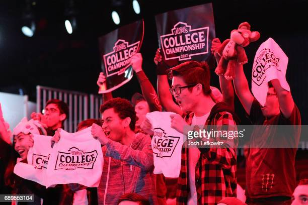 Fans are seen cheering during the match between Maryville University and the University of Toronto in the League of Legends College Championship at...