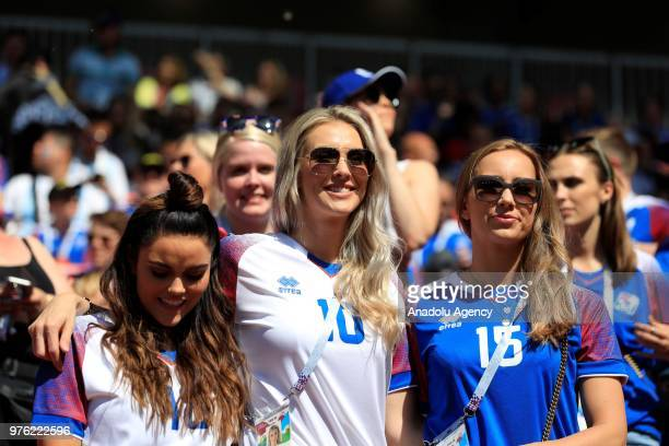 Fans are seen during the 2018 FIFA World Cup Russia Group D match between Argentina and Iceland at the Spartak Stadium in Moscow Russia on June 16...