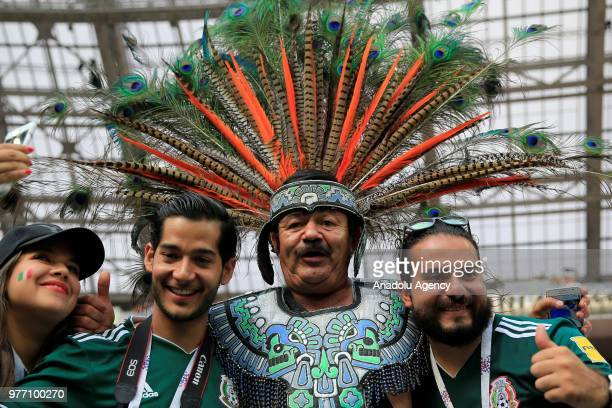 Fans are seen during the 2018 FIFA World Cup Russia Group F match between Germany and Mexico at the Luzhniki Stadium Moscow in Moscow Russia on June...