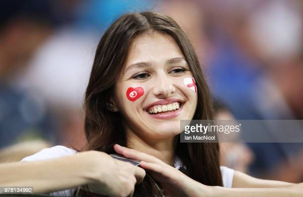 Fans are seen during the 2018 FIFA World Cup Russia group G match between Tunisia and England at Volgograd Arena on June 18 2018 in Volgograd Russia