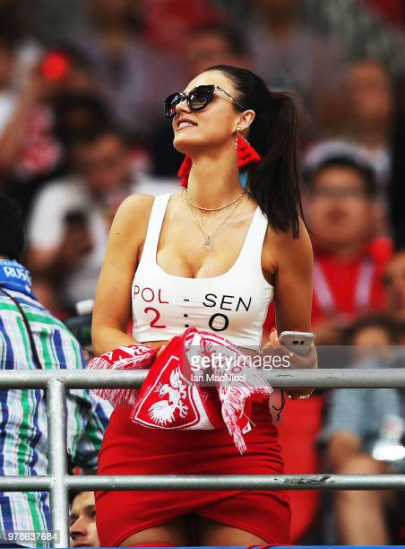 Fans are seen during the 2018 FIFA World Cup Russia group H match between Poland and Senegal at Spartak Stadium on June 19 2018 in Moscow Russia