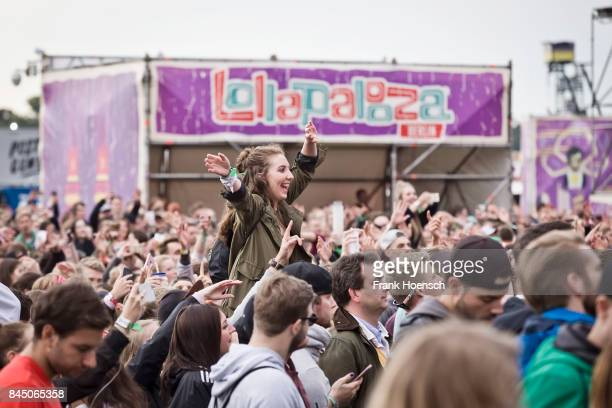 Fans are seen during the first day of Lollapalooza Festival on September 09, 2017 in Dahlwitz-Hoppegarten, Germany. .