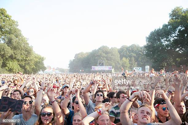 Fans are seen during the Lollapalooza Berlin music festival at Treptower Park on September 11 2016 in Berlin Germany