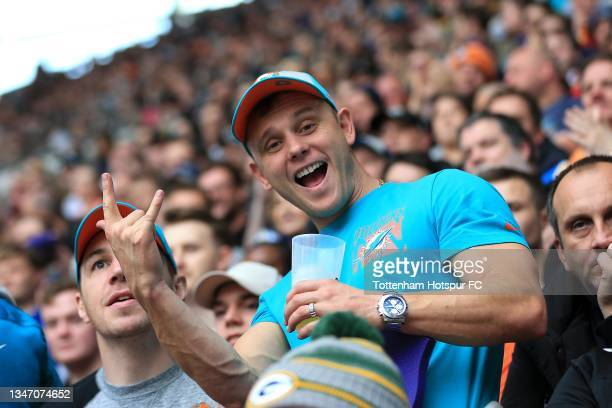 Fans are seen during the NFL London 2021 match between Miami Dolphins and Jacksonville Jaguars at Tottenham Hotspur Stadium on October 17, 2021 in...