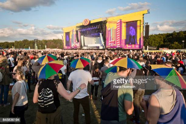 Fans are seen during the second day of Lollapalooza Festival on September 10, 2017 in Dahlwitz-Hoppegarten, Germany. .