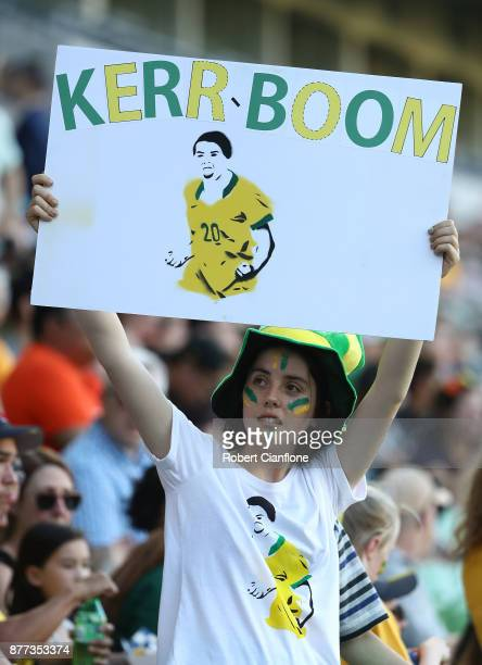 Fans are seen during the Women's International match between the Australian Matildas and China PR at AAMI Park on November 22 2017 in Melbourne...