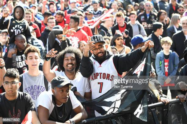 Fans are seen gathering before a game between the Milwaukee Bucks and the Toronto Raptors in Round One of the Eastern Conference Playoffs during the...