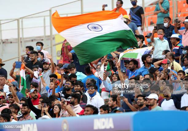 Fans are seen in the crowd during Day Three of the 4th Test Match between India and England at the Narendra Modi Stadium on March 06, 2021 in...