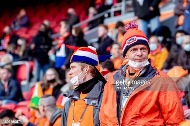 Fans are seen in the Johan Cruijff Arena during the World Cup 2022 Qualifier between Netherlands and Latvia on March 27, 2021 in Amsterdam,...