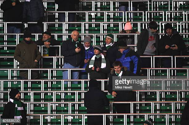 Fans are seen in the standing area prior to kick off during the UEFA Champions League Group C match between Celtic FC and FC Barcelona at Celtic Park...