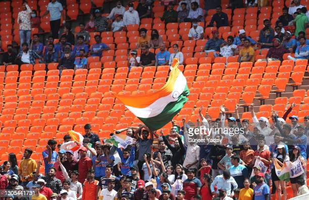 Fans are seen in the stands during Day Two of the 4th Test Match between India and England at the Narendra Modi Stadium on March 05, 2021 in...