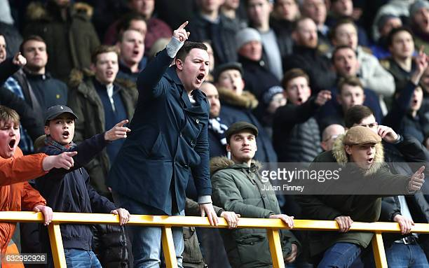 Fans are seen in the stands during The Emirates FA Cup Fourth Round match between Millwall and Watford at The Den on January 29 2017 in London England