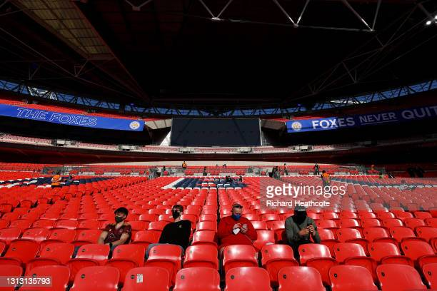 Fans are seen in the stands prior to the Semi Final of the Emirates FA Cup between Leicester City and Southampton FC at Wembley Stadium on April 18,...