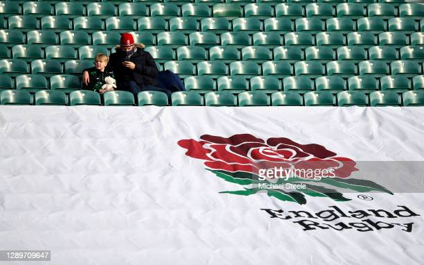 Fans are seen inside the stadium prior to the Autumn Nations Cup Final & Quilter International between England and France at Twickenham Stadium on...