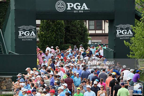 Fans are seen near the practice ground during the second round of the 2016 PGA Championship at Baltusrol Golf Club on July 29, 2016 in Springfield,...
