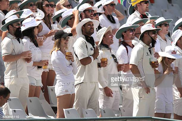 Fans are seen on day 2 of the 2nd test between South Africa and Sri Lanka at PPC Newlands on January 03 2107 in Cape Town South Africa