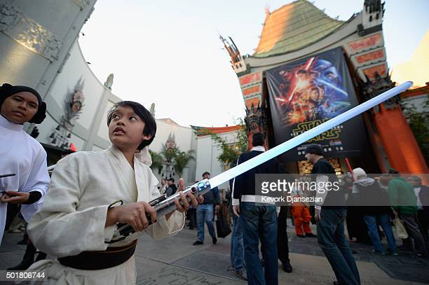 Fans are seen outside of the TCL Chinese Theatre before the opening night of Walt Disney Pictures and Lucasfilm's Star Wars The Force Awakens at TCL...