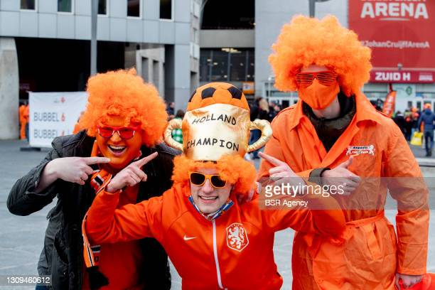 Fans are seen outside the Johan Cruijff Arena ahead of the World Cup 2022 Qualifier between Netherlands and Latvia on March 27, 2021 in Amsterdam,...