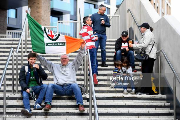 Fans are seen outside the stadium ahead of the Gallagher Premiership Rugby match between London Irish and Gloucester Rugby at Brentford Community...