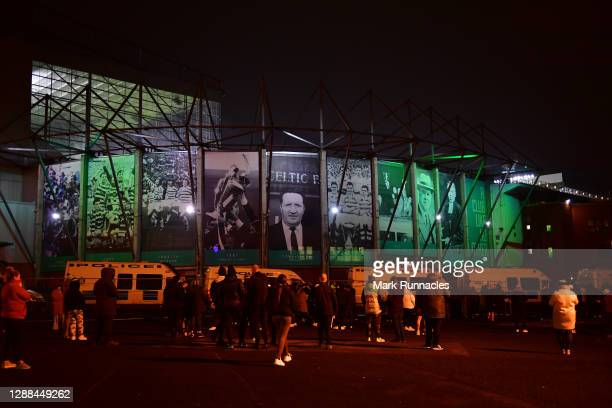 Fans are seen outside the stadium following the Betfred Cup match between Celtic and Ross County at Celtic Park on November 29, 2020 in Glasgow,...