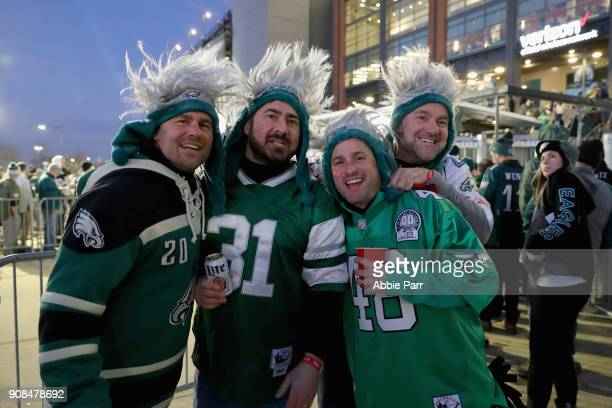 Fans are seen outside the stadium prior to the NFC Championship game at Lincoln Financial Field between the Philadelphia Eagles and the Minnesota...