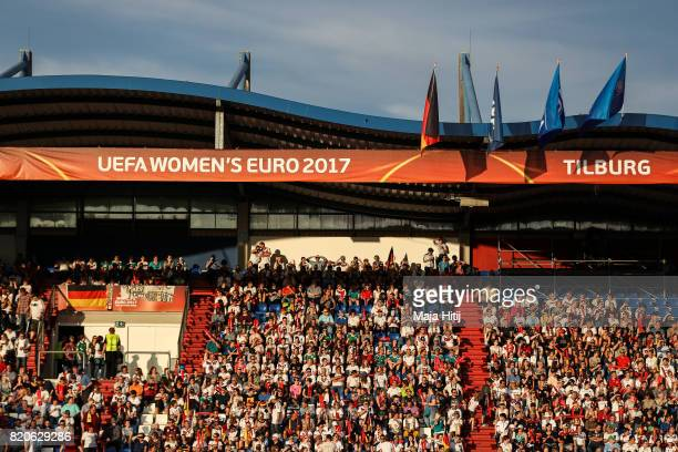 Fans are seen prior the UEFA Women's Euro 2017 at Koning Willem II Stadium on July 21 2017 in Tilburg Netherlands