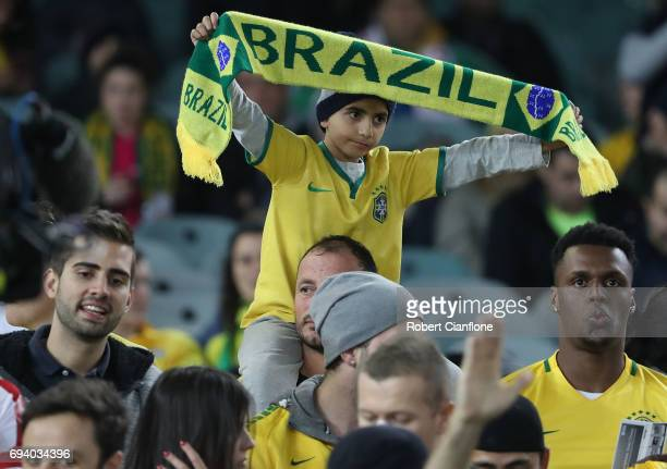 Fans are seen prior to the Brazil Global Tour match between Brazil and Argentina at Melbourne Cricket Ground on June 9 2017 in Melbourne Australia