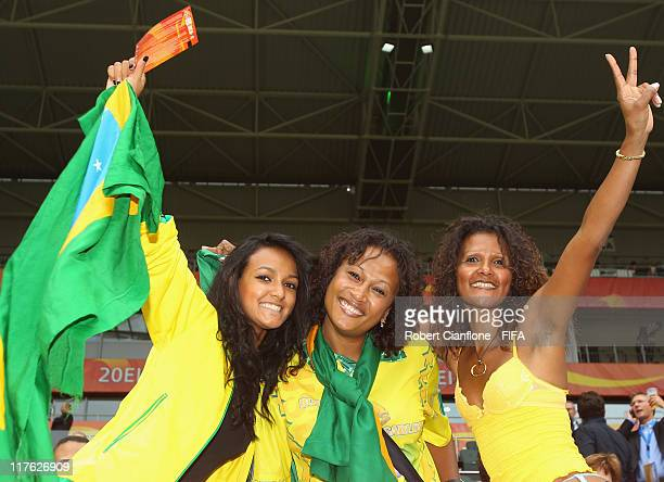 Fans are seen prior to the FIFA Women's World Cup 2011 Group D match between Brazil and Australia at the Borussia Park Stadium on June 29 2011 in...