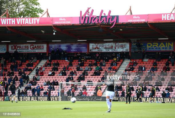 Fans are seen social distancing inside the stadium prior to during the Sky Bet Championship Play-off Semi Final 1st Leg match between AFC Bournemouth...