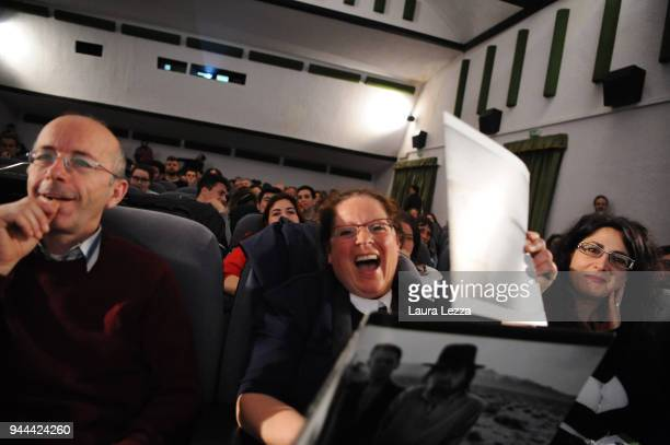 Fans are seen while the Dutch photographer film director music video director and visual artist Anton Corbijn attends a discussion on cinema and...