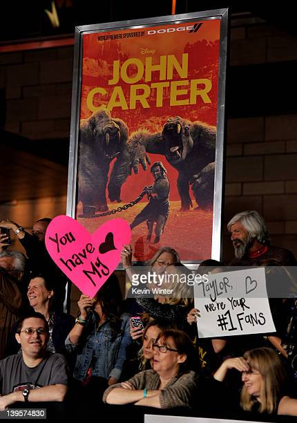 Fans are shown at the premiere of Walt Disney Pictures' John Carter at the Regal Cinemas LA Live Stadium 14 on February 22 2012 in Los Angeles...