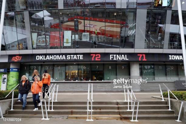 Fans are turned away from the ticket window of the Sprint Center as no fans will be allowed inside for the remainder of the Big 12 tournament games...
