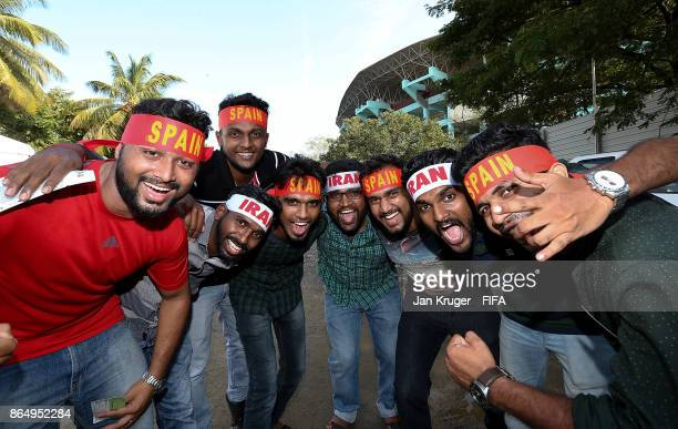 Fans arrive ahead of the FIFA U17 World Cup India 2017 Quarter Final match between Spain and Iran at Jawaharlal Nehru International Stadium on...