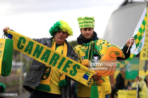 Fans arrive ahead of the Sky Bet Championship match between Norwich City and Blackburn Rovers at Carrow Road on April 27, 2019 in Norwich, England.