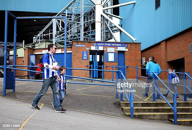 Fans arrive ahead of the Sky Bet Championship match between Sheffield Wednesday and Cardiff City at Hillsborough stadium on April 30 2016 in...