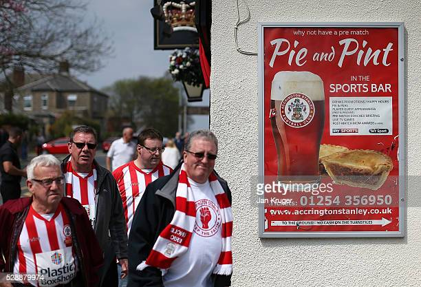 Fans arrive ahead of the Sky Bet League Two match between Accrington Stanley and Stevenage at Wham Stadium on May 07 2016 in Accrington England