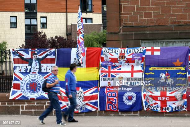 Fans arrive ahead of the UEFA Europa League Qualifying Round match between Rangers and Shkupi at Ibrox Stadium on July 12 2018 in Glasgow Scotland