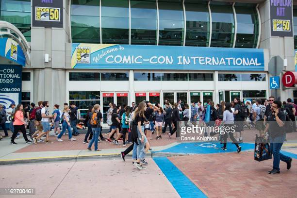 Fans arrive at Comic-Con International Preview Night on July 17, 2019 in San Diego, California.