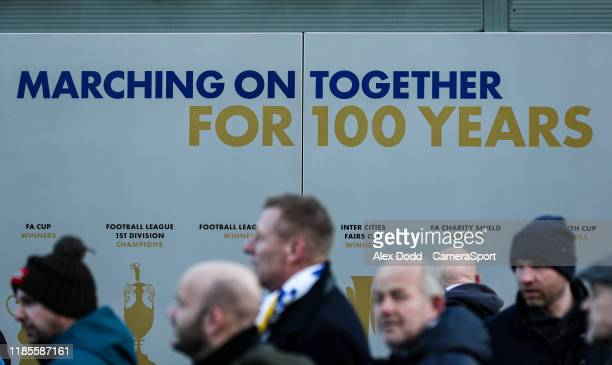 Fans arrive at Elland Road home of Leeds United during the Sky Bet Championship match between Leeds United and Middlesbrough at Elland Road on...