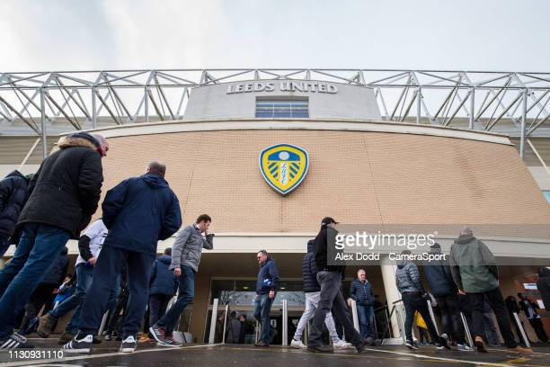 Fans arrive at Elland Road home of Leeds United FC during the Sky Bet Championship match between Leeds United and Sheffield United at Elland Road on...