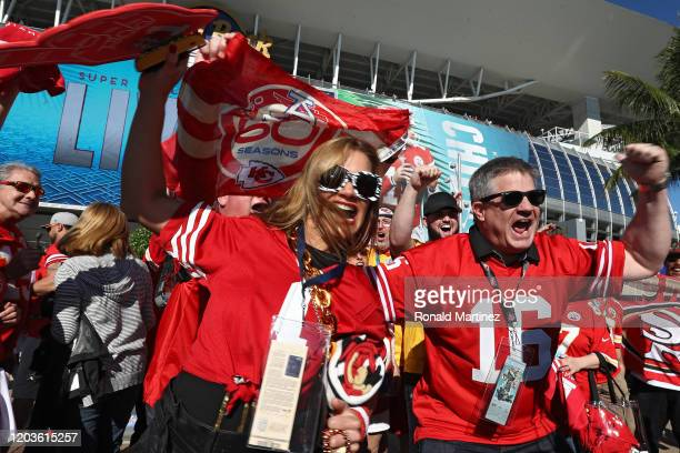 Fans arrive at Hard Rock Stadium before Super Bowl LIV on February 02 2020 in Miami Florida