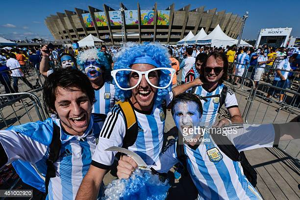 Fans arrive at Mineirao stadium for the Argentina v Iran Group F match on June 21 2014 in Belo Horizonte Brazil