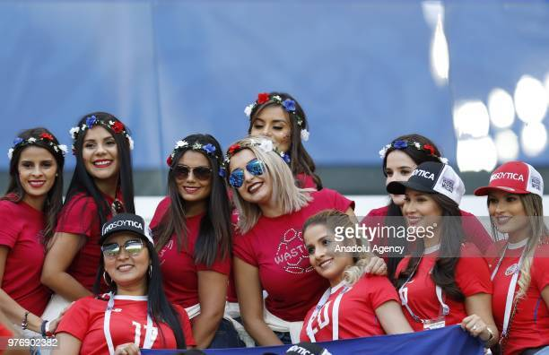 Fans arrive at Samara Arena ahead of the 2018 FIFA World Cup Russia Group E match between Costa Rica and Serbia in Samara Russia on June 17 2018