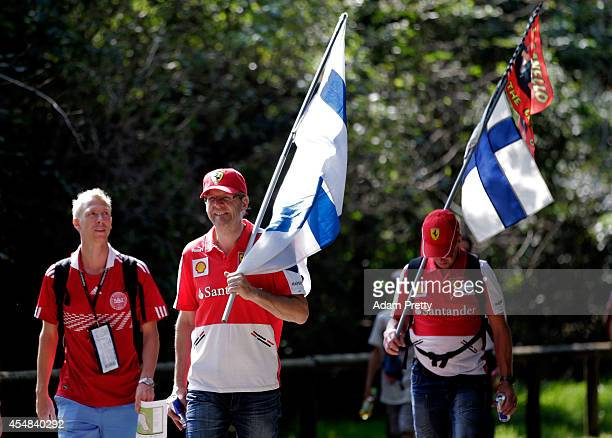 Fans arrive at the circuit prior to the F1 Grand Prix of Italy at Autodromo di Monza on September 7 2014 in Monza Italy