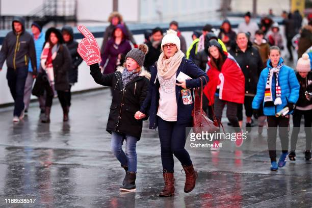 Fans arrive at the ground before the International Friendly between England Women and Germany Women at Wembley Stadium on November 09, 2019 in...